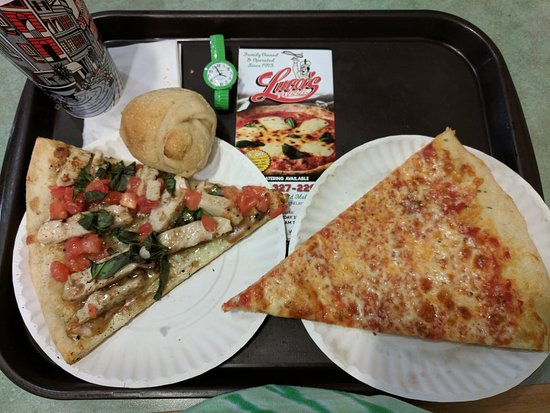 """Vineland, NJ: Very tasty plain cheese pizza slice !  The chicken had a """"just ok """" flavor to me."""