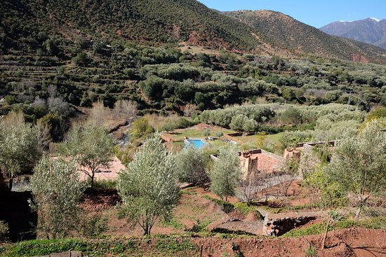 Stunning views in a peaceful valley in the Atlas mountains .