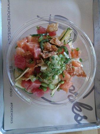 Pokeworks: rice bowl tuna and salmon