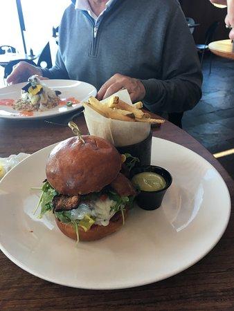 Sierra Mar burger with fries