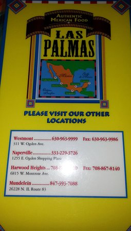 Harwood Heights, Илинойс: back menu page with information on other Las Palmas restaurants