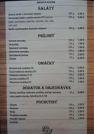 Tatranska Strba, สโลวะเกีย: Jedálny lístok