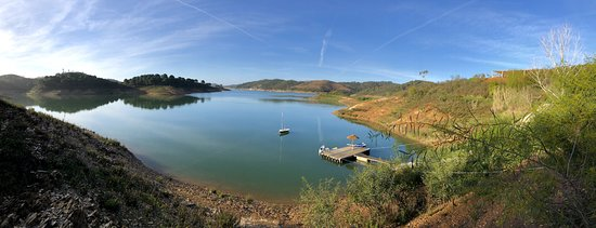 Santa Clara a Velha, Portugal: Panorama of the lake with the shall to the right
