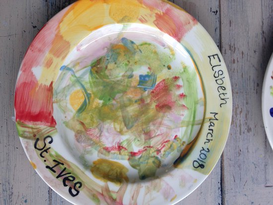 St. Ives, UK: A plate painted in 54 Lemons St Ives Cornwall
