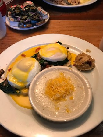 Eggs Benedict With Grits And Small Scoop Of Cherokee Sweet Corn Pone Picture Of Crocketts Breakfast Camp Gatlinburg Tripadvisor