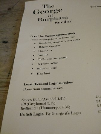 Burpham, UK: Sunday Lunch Menu