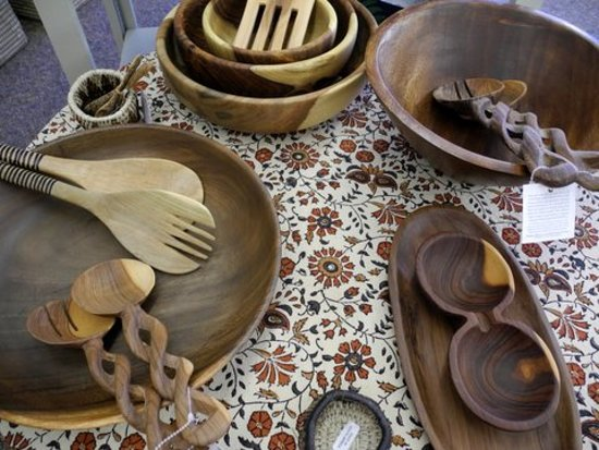 Orange City, IA: Many different wooden salad servers and bowls.