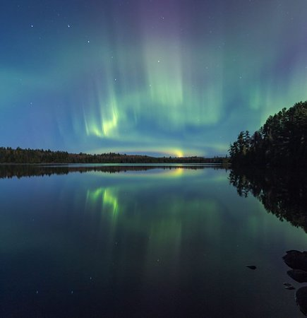 Tofte, MN: Northern Lights - from North Shore of Lake Superior