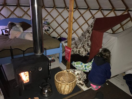 Kilmory, UK: Living inside the Yurt, the complimentary goose egg, the camp fire and the scenery...