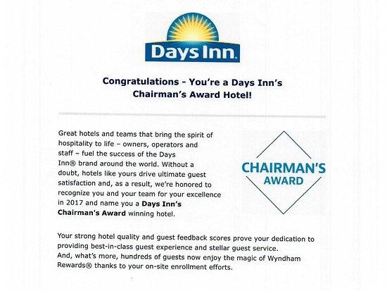 Days Inn Manitou Springs: CHAIRMAN's AWARD HOTEL