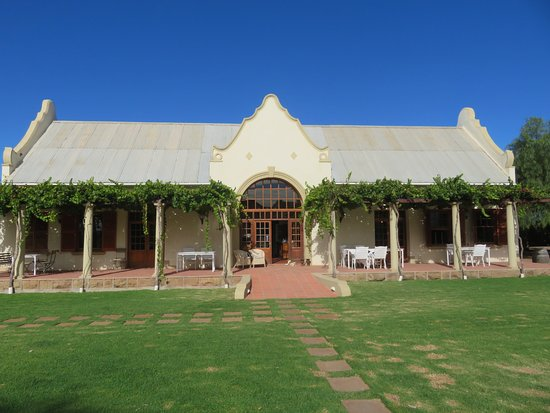 Rietfontein Ostrich Palace : This is the bar, dining room and lounge with rooms across the lawn