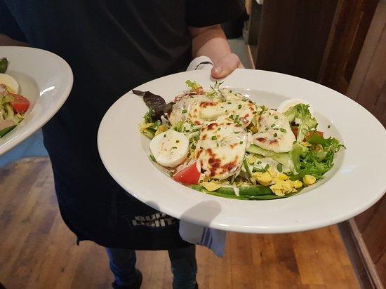 Brackley, UK: Chicken and Bacon Salad and Halloumi Salad