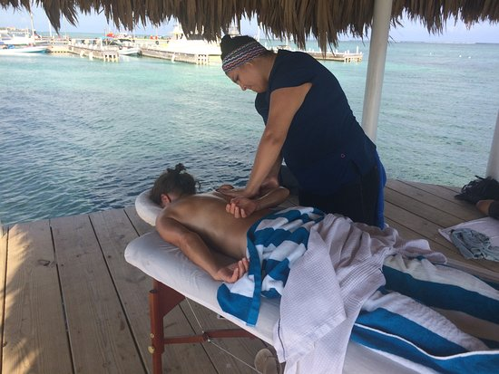 San Pedro, Belize: Experience a relaxing massage at the end of the pier and over the water