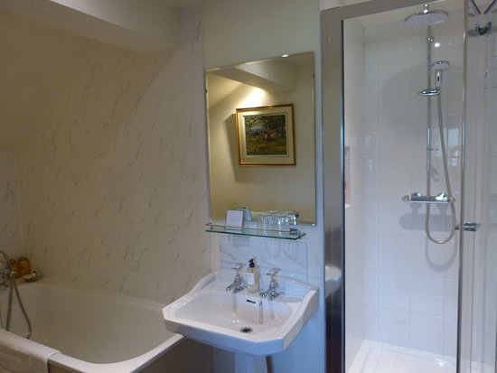 East Chelborough, UK: The Cream Room Bathroom showing new shower stall