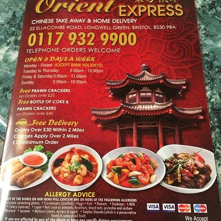 Longwell Green, UK: Extensive menu