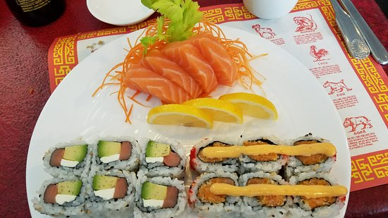 Chopstick: 2 orders of salmon sashimi, Philly roll and spicy salmon roll.