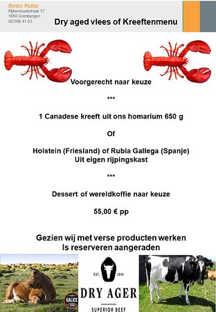 Grimbergen, Belgium: a nice selection of own dry aged meat or fresh lobster