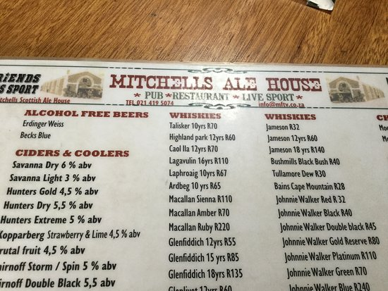 Menu - Picture of Mitchell's Scottish Ale House, Cape Town Central