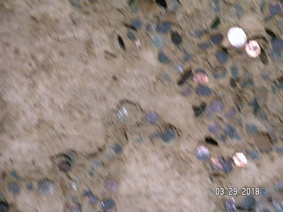 Marengo, IN: Coins that have been thrown up to stick on the cave ceiling.