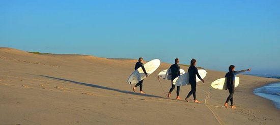 The Parsonage Inn: Nauset Beach, our kids surfing