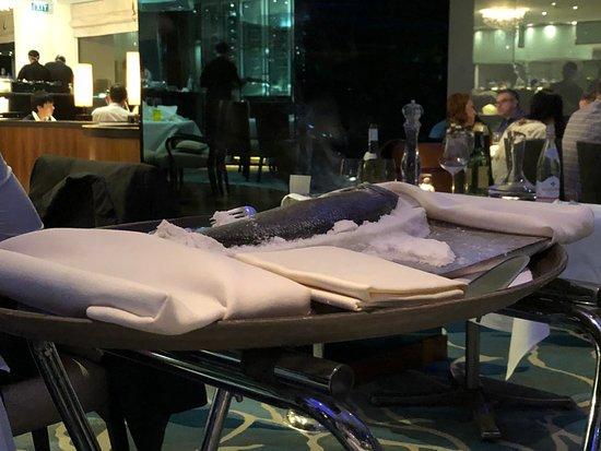 Lord Jim's at Mandarin Oriental, Bangkok: Salt encrusted sea bass revealed