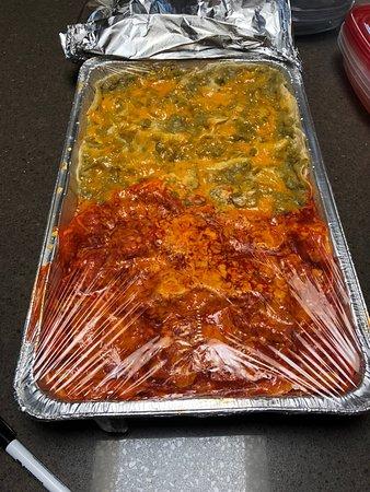 Massive tray of red/green Enchiladas