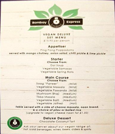 Bombay Express: The vegan set menu