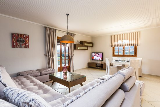 Adele, Greece: Living room area with direct access to the veranda