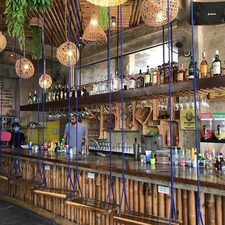 Shows the inside of Happiness Beach Bar