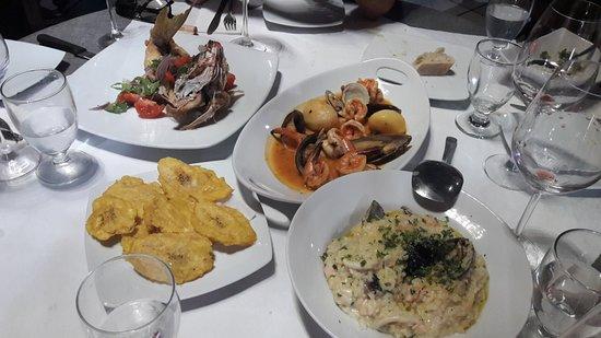 San Sebastian, Puerto Rico: risotto, yellow fish, tostones