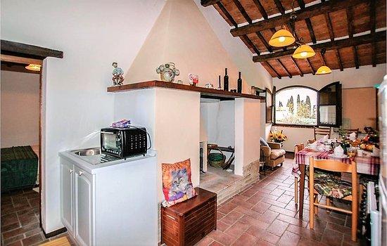 Ampio salone con cucina completamente attrezzata e moderna, camino ...