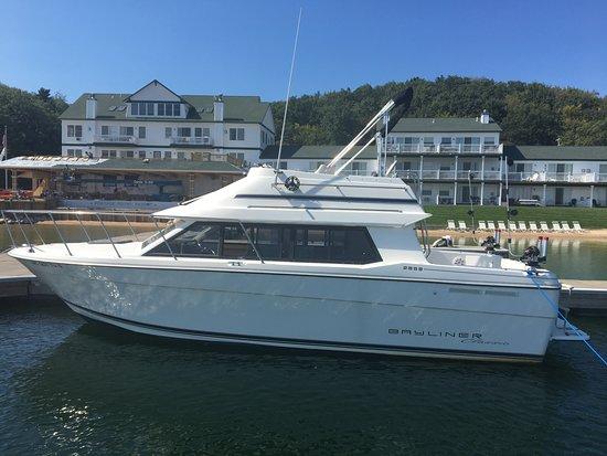 Manistee, MI: Prioity 1 docked at beautiful Portage Point Resort in Onekama, MI