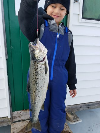 Canalside Cabins: Our Grandson's first time ice-fishing