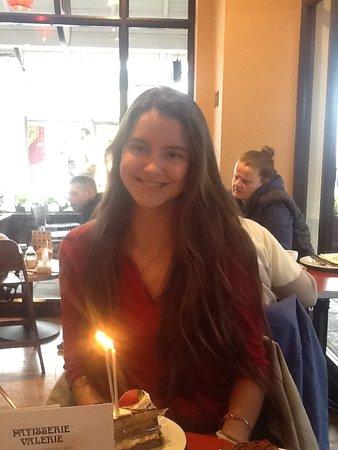 Patisserie Valerie Cheshire Oaks : Magdalene enjoying an impromptu birthday cake !