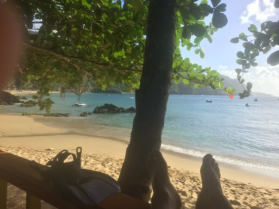 Bon Accord, Tobago: view from the Boathouse restaurant waiting to dive