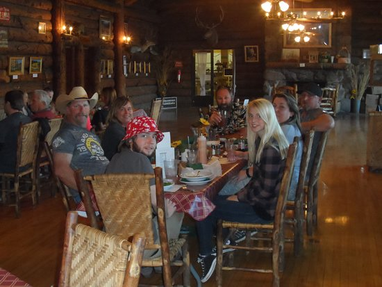 Koosharem, UT: Family enjoying lunch in the lodge