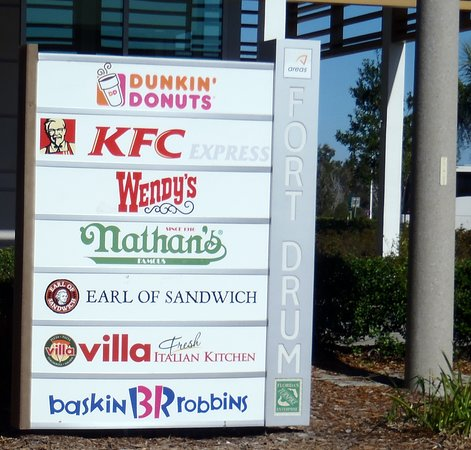 restaurant directory at the Fort Drum Service Plaza