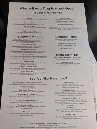 Coosh's Bayou Rouge: Brunch menu. Also have 12$ unlimited mimosas until 2pm.