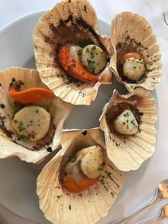 Marius: roasted scallops in shells