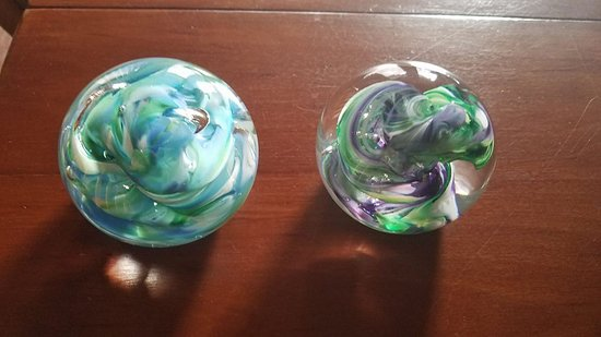 Paperweights - mine on the left, my grandson's on the right