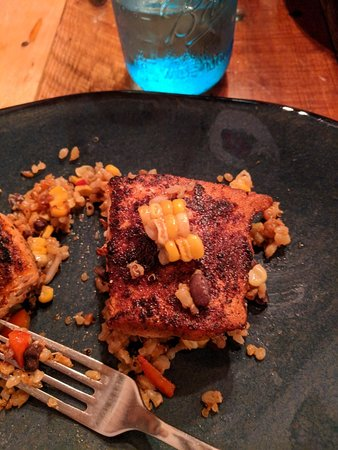 Ramona, CA: Southwest Salmon with corn sliced from the cob in a bed of quinoa, black beans be and kale, and
