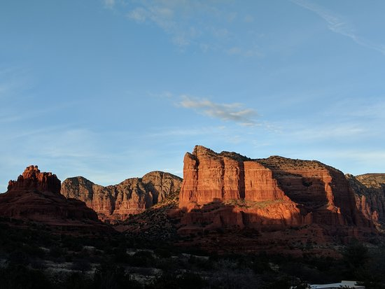 The Penrose B&B: Sunset on Bell Rock and Courthouse Butte, from Javelina Room