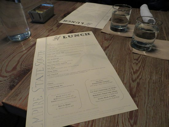 Empire State South: Lunch menu