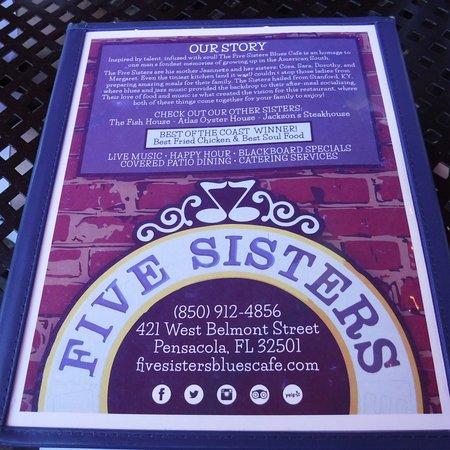 Five Sisters Blues Cafe Pensacola Fl Menu