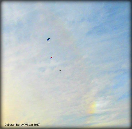 Lebanon, ME: We've sure enjoyed watching the parachuters floating down from the sky.