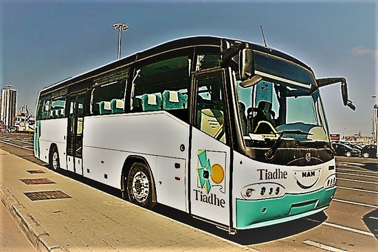Puerto del Rosario, Espanha: Un autobús o guagua de Tiadhe