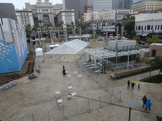 """Westfield Horton Plaza : The """"Park"""" sets up for a reception"""