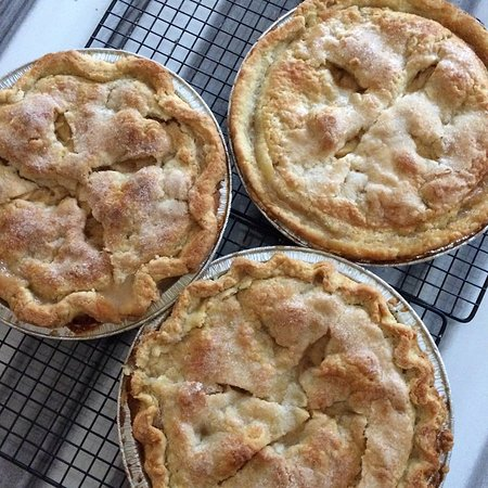 Montague, MI: The finished pies - Valerie's and ours.