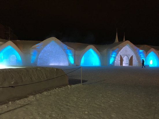 Hotel de Glace: A night time view of the Ice Hotel exterior.