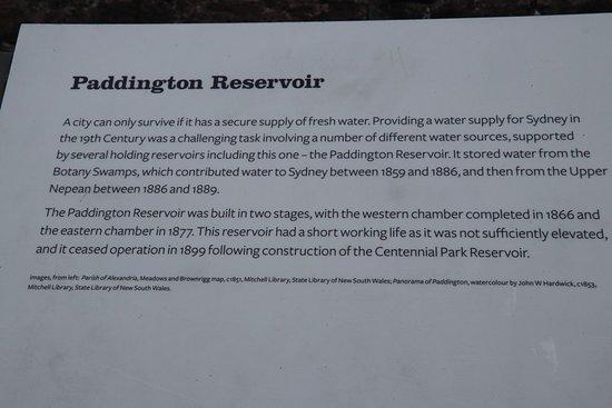 Paddington Reservoir Gardens: About the Paddington Reservoir